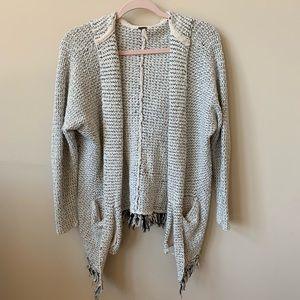 Free People fringe hem hooded sweater cardigan 153